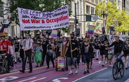 SAN FRANCISCO, CALIFORNIA, JUNE 24, 2018:  GAY PRIDE PARADE - ANSWERcoalition.org marches