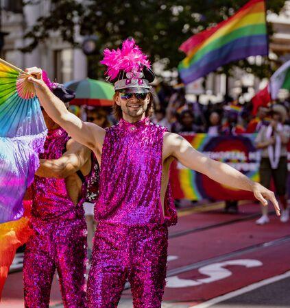 SAN FRANCISCO, CALIFORNIA, JUNE 24, 2018:  GAY PRIDE PARADE - gay man marches Editoriali