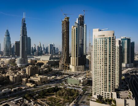 ABU DHABI, UAE, MAR 22, 2018: New skyscrapers are being built rapidly throughout Abu Dhabi