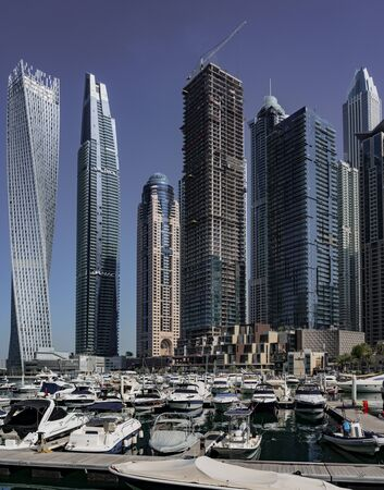 DUBAI, UAE, MAR 20, 2018: Skyscrapers line the marina in Dubai