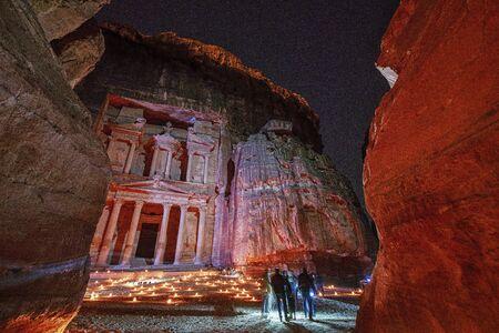 Petra, Jordan - 2019-04-22 - Treasurey at night lit by candles.