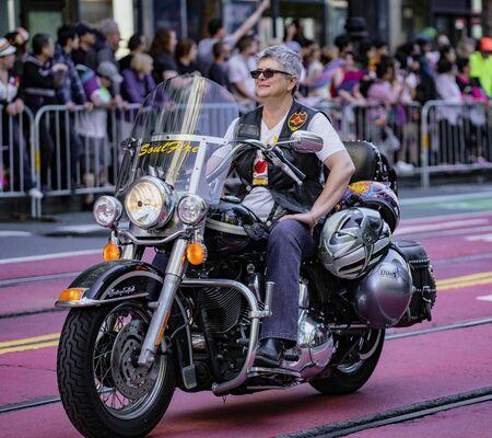 SAN FRANCISCO, CALIFORNIA, JUNE 24, 2018:  GAY PRIDE PARADE - Dykes On Bikes lead the parade Editoriali