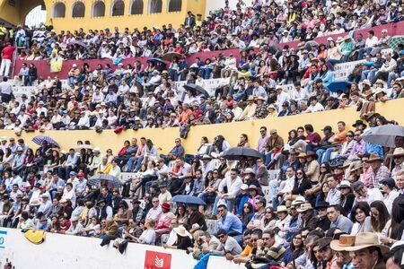 Ambato, Ecuador - Feb 15, 2015 - Audience at bullfight for Carnaval celebration