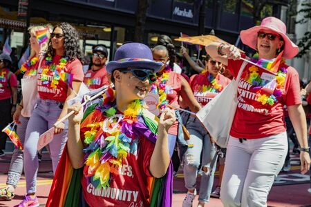 SAN FRANCISCO, CALIFORNIA, JUNE 24, 2018:  GAY PRIDE PARADE -  Many Identities, One Community  group marches