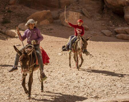 Petra, Jordan - 2019-04-21 - Donkeys Are Common Transport Animals in Petra Jordan. Editoriali