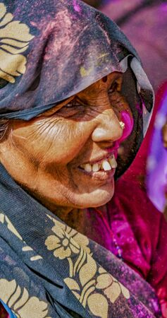 Barsana, India - February 23, 2018 - Old man with grey beard looks camera-left during Holi festival Editoriali