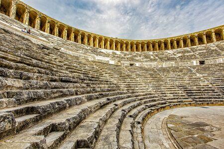 Ruins of stadium at Aspendos, Turkey old 版權商用圖片