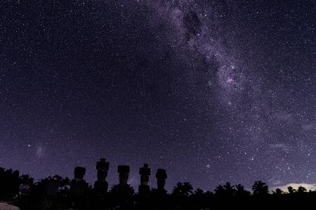 Milky Way Shows Above Moai On Easter Island, Chile.