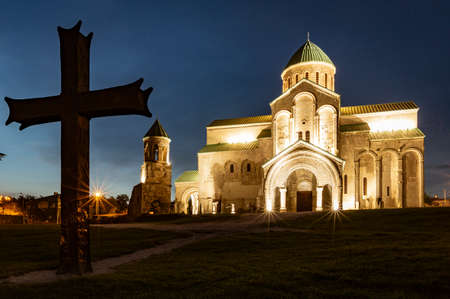 Bagrati Cathedral was built in the 11th century in Kutasi, Georgia, shown during the blue hour