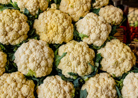 Rows of cauliflower for sale at market