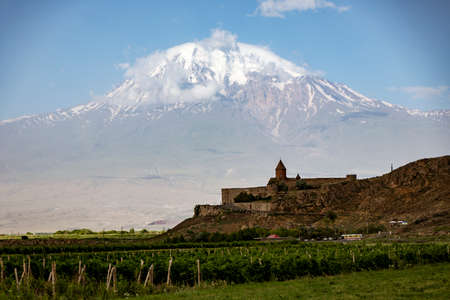 Khor Virap monastery in Armenia seen with Mt Ararat in Turkey