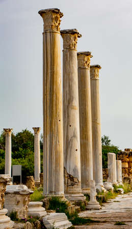 Ruins of columns in Ancient Salamis in Cyprus