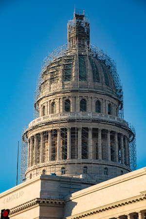 Capital building dome in Havana, Cuba under renovation Foto de archivo