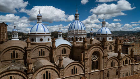 Aeiral Drone View of Dome of New Cathedral in Cuenca Ecuador as Seen From the Seminary.