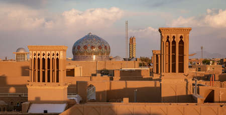 The skyline of Yazd Iran at sunset.