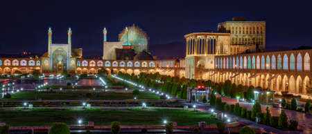 Naqshe Cehan Square in Kashan Iran Before Dawn During Blue Hour. Foto de archivo