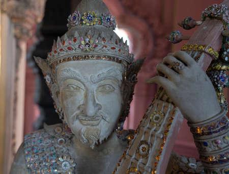Statue of Imp God in Gangaramaya Temple in Colombo Sri Lanka - Close-up. Stok Fotoğraf