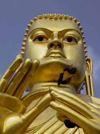 Giant Golden Buddha Statue at Golden Temple of Dambulla in Sri Lanka.