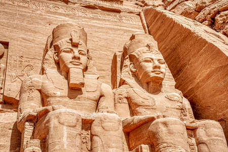 Massive God Statures at Luxor Temple Entrance in Aswan Egypt.