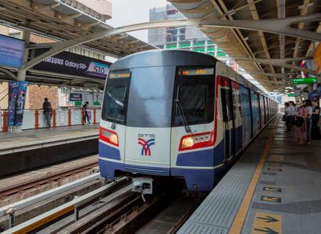 Bangkok, Tahiland - 2019-03-19 - Sky Tain Light Rail Train Arrives in Station.