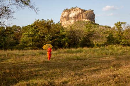 Negombo, Sri Lanka - 2019-03-22 - Monks Walk in Grass Field with Sigiriya Rock in the Background.