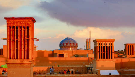 Yazd, Iran - 2019-04-11 - Wind Catcher Towers form natural air conditioning, and date back to ancient Persia. 新闻类图片