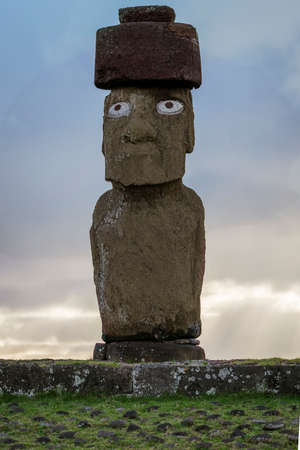 Moai on Easter Island at Ahu Tahai With Scoria Pukao Topknot and Replica Coral Eyes.