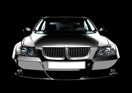 car front: Top-front view of a luxury sedan car