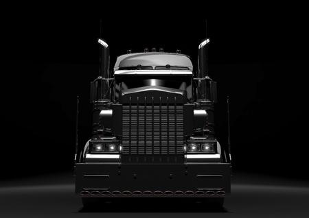 transporte de mercancia: Vista frontal de un cami�n diesel largo y negro en un fondo oscuro