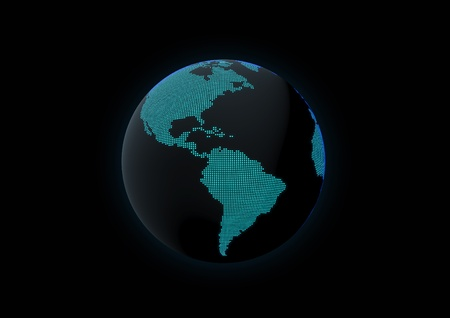 World globe showing central and south america, made with dot lights in a dark background Stock Photo