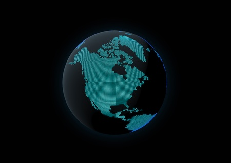 World globe showing north america, made with dot lights in a dark background Stock Photo