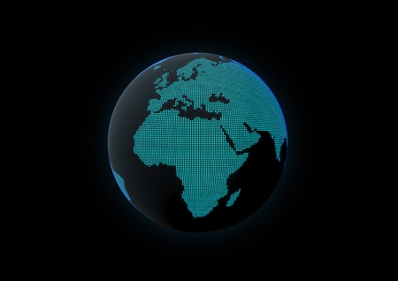 World globe showing africa, made with dot lights in a dark background Stock Photo