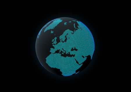 World globe showing europe, made with dot lights in a dark background