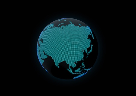 World globe showing asia, made with dot lights in a dark background Stock Photo