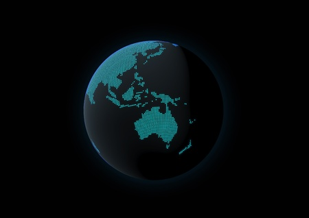 World globe showing oceania, made with dot lights in a dark background