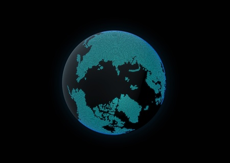 World globe showing north pole, made with dot lights in a dark background