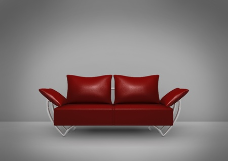Isolated dark red sofa on dark background with spotlight focus