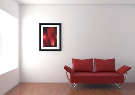 Red modern sofa in white room.