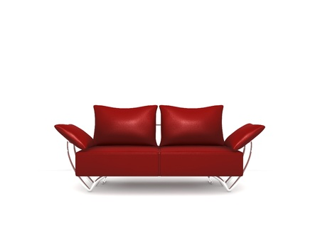 Isolated dark red sofa on white background photo