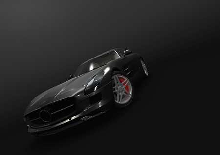 black car: Front-side view of sport car in a dark background Stock Photo