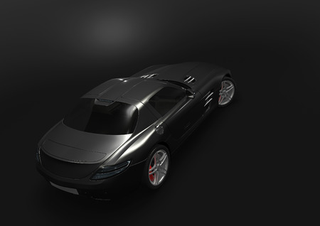 Back-top view of sport car in a dark background Stock Photo