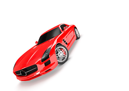 Front-side view of sport car in a white background Stock Photo