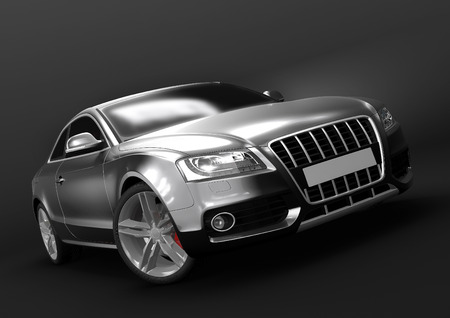 Front-side view of luxury car in a dark background Stock Photo