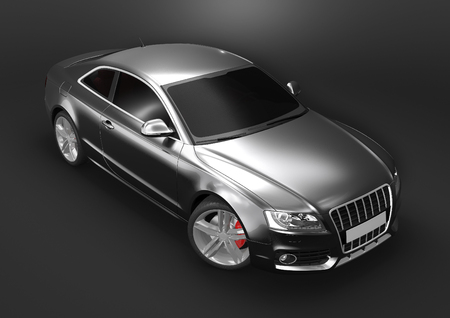black car: Front-top view of luxury car in a dark background Stock Photo