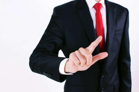 Businessman pressing Stock Photo