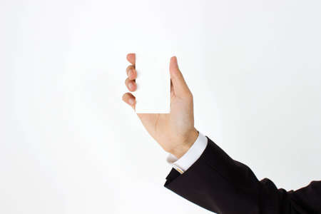 business man holding blank business card  Stock Photo