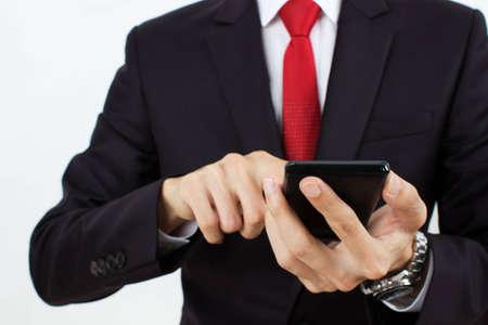 men holding mobile phone Stock Photo