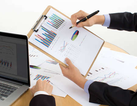 review the reports Stock Photo