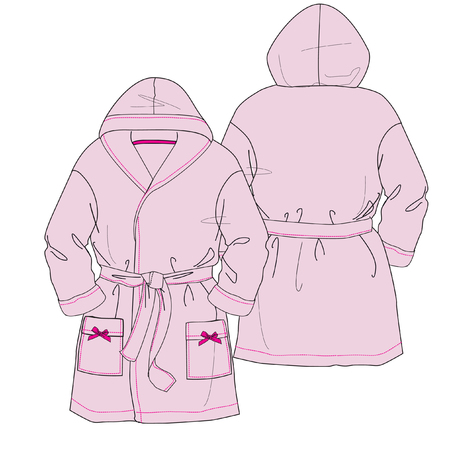 Pink bathrobe for women. Vector. Front and back.