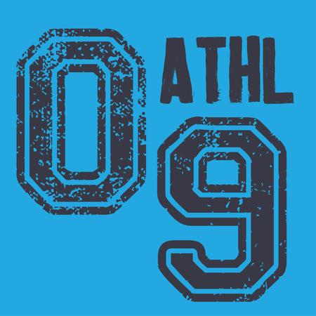 Vintage etiketten atletische sport typografie, t-shirt graphics, vectoren